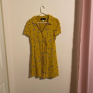Yellow floral button front dress